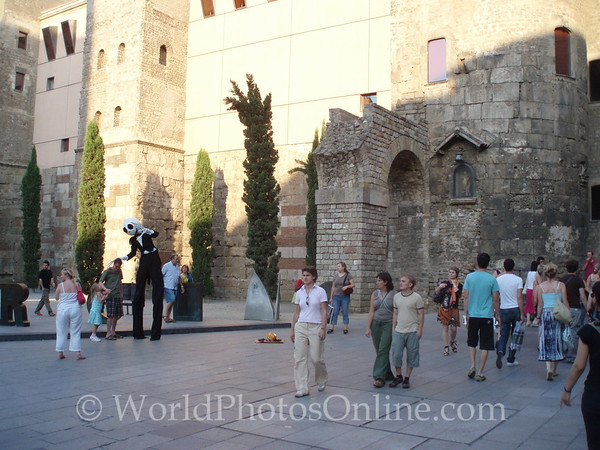 Roman Aqueduct by Cathedral & Busker