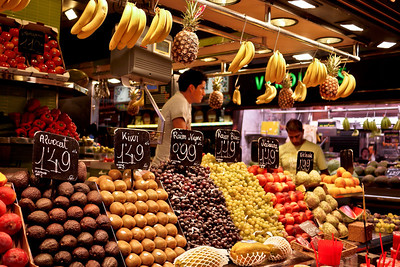Fresh fruits in Barcelona, Spain at la Boqueria market.