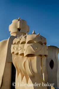 Chimneys on the roof of Casa Mila, Barcelona