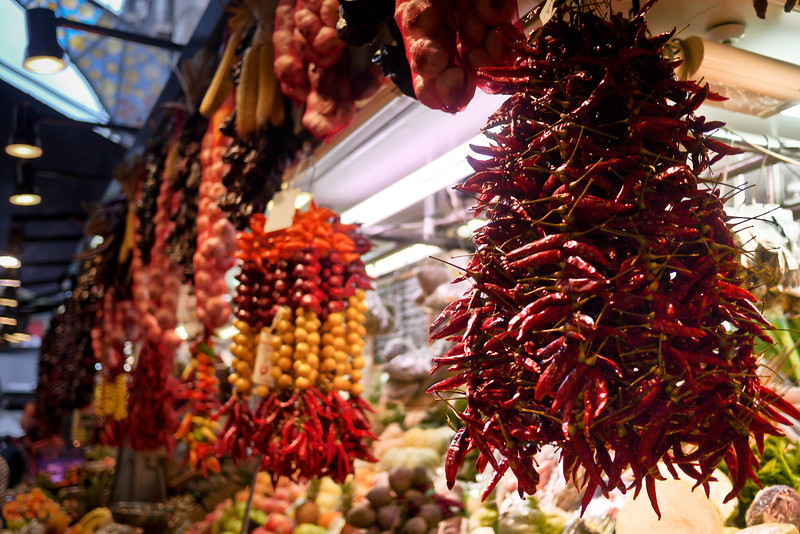 Chilies for sale in la Boqueria market in Barcelona, Spain.