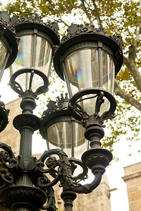Light posts on Las Ramblas in Barcelona, Spain.
