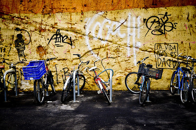 Graffiti and bicycles in the Old Town area of Barcelona, Spain.