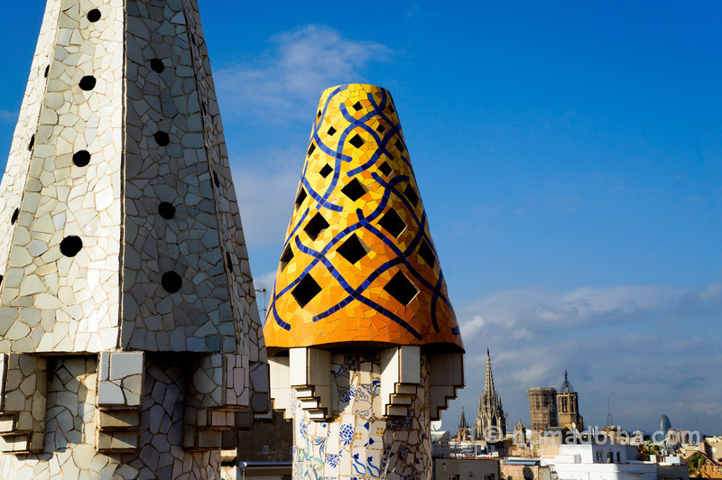 Chimney at Palau Güell in Barcelona, Spain