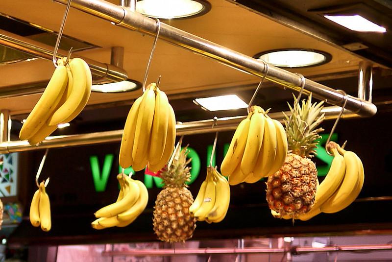 Fresh fruits are prettily arranged at la Boqueria market in Barcelona, Spain.