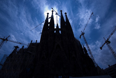 Silhouette of Sagrada Familia Basilica in Barcelona, Spain