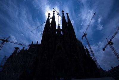 Silhouette of Sagrada Familia Basilica in Barcelona, Spain