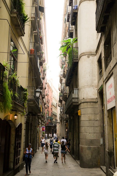 The thin streets of the Gothic Quarter in Barcelona, Spain.