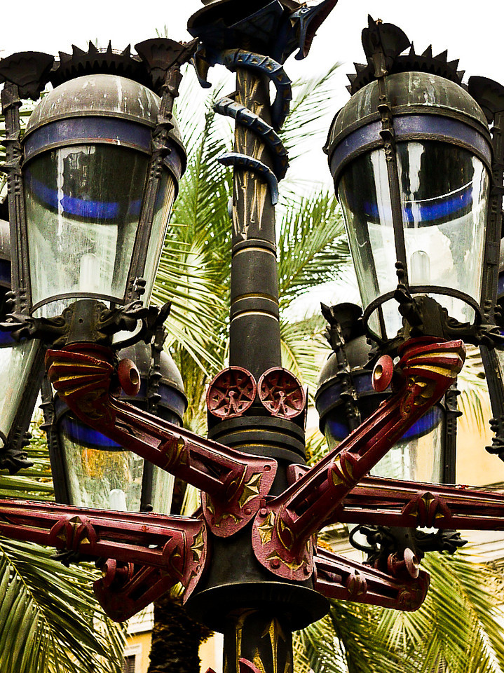 Intricate street lights in the Plaza Real in Barcelona, Spain.