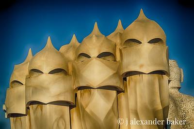 Moorish Warrior Chimneys - Le Pedrera (Casa Mila) Barecelona