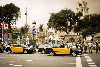 The incredibly busy streets surrounding the Placa Catalunya in Barcelona, Spain.