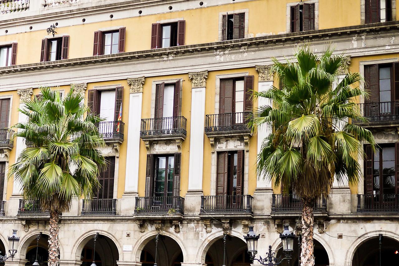Plaza Real in Barcelona, Spain.