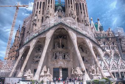 Architectural details of Sagrada Familia Basilica in Barcelona, Spain