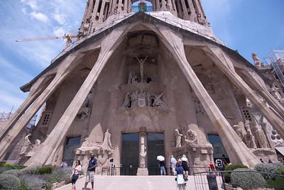 Details to the entrance of Sagrada Familia Basilica in Barcelona, Spain