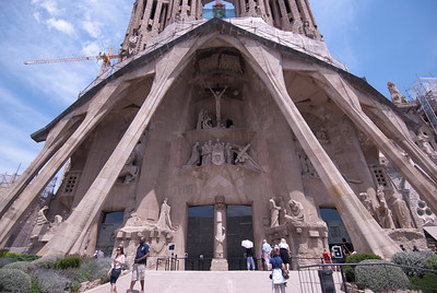 Details to the entrance of Sagrada Familia Basilica in Barcelona, Spain