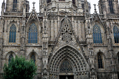 The gorgeous entryway to Santa Maria del Mar, a church with Catalan Gothic styles, in Barcelona, Spain.