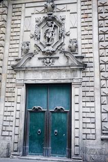 Doorway in the Gothic Quarter of Barcelona, Spain.