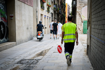 A construction worker the Old Town in Barcelona, Spain.
