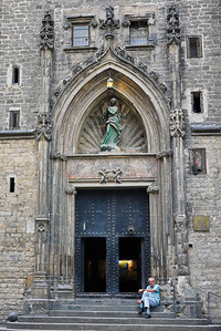 The side entrance to the Santa Maria del Mar church in Barcelona, Spain.
