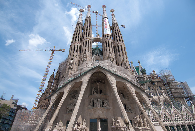Elaborate architecture of Sagrada Familia Basilica in Barcelona, Spain