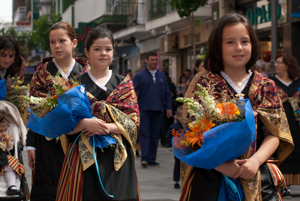 Girls in religious procession, Benidorm, Spain