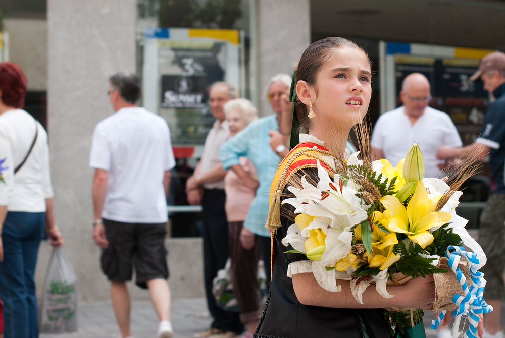 Girl Waiting for Religious Procession in Benidorm, Spain