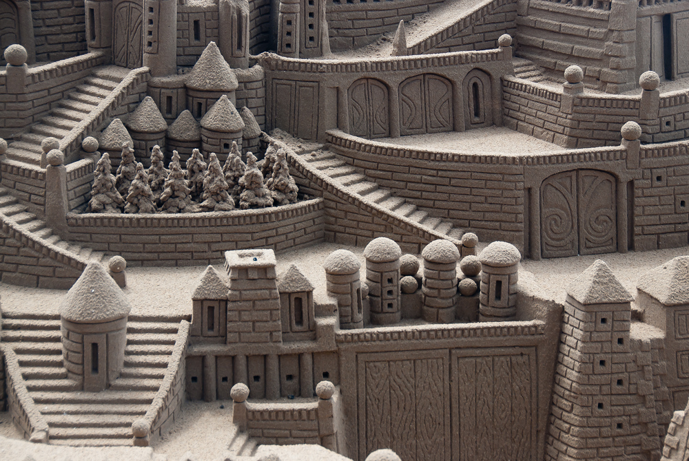 Detailed Sandcastle on Beach in Benidorm, Spain
