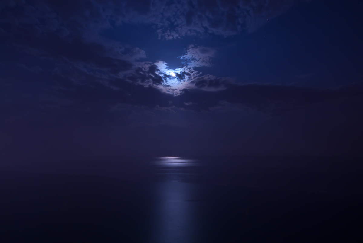 Moon over the Mediterrian Sea in Benidom, Spain