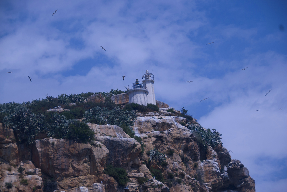 Lighthouse on the cliffs of Benidorm, Spain
