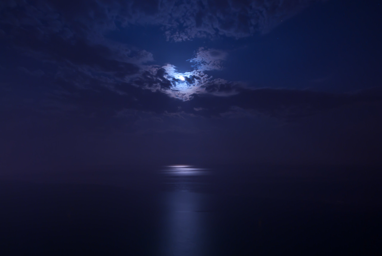 Moonlight reflecting on the ocean - Benidorm, Spain