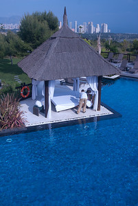 Resort hut and pool in Benidorm, Spain