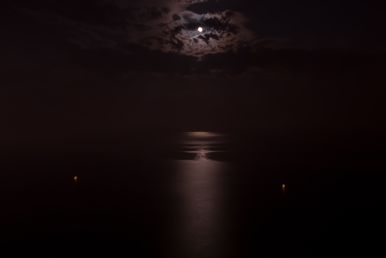 Moonlight reflected on the sea - Benidorm, Spain