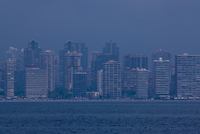 City skyline along the coastline of Benidorm, Spain