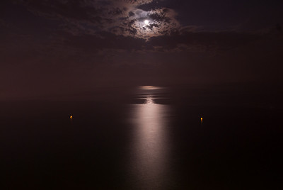 Moonlight reflected on the ocean - Benidorm, Spain