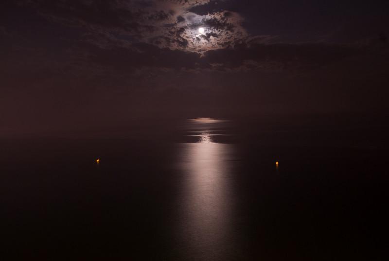 Moonlight reflected on the ocean - Benidorm, Spain