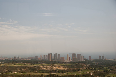 Wide shot of skyline in Benidorm, Spain