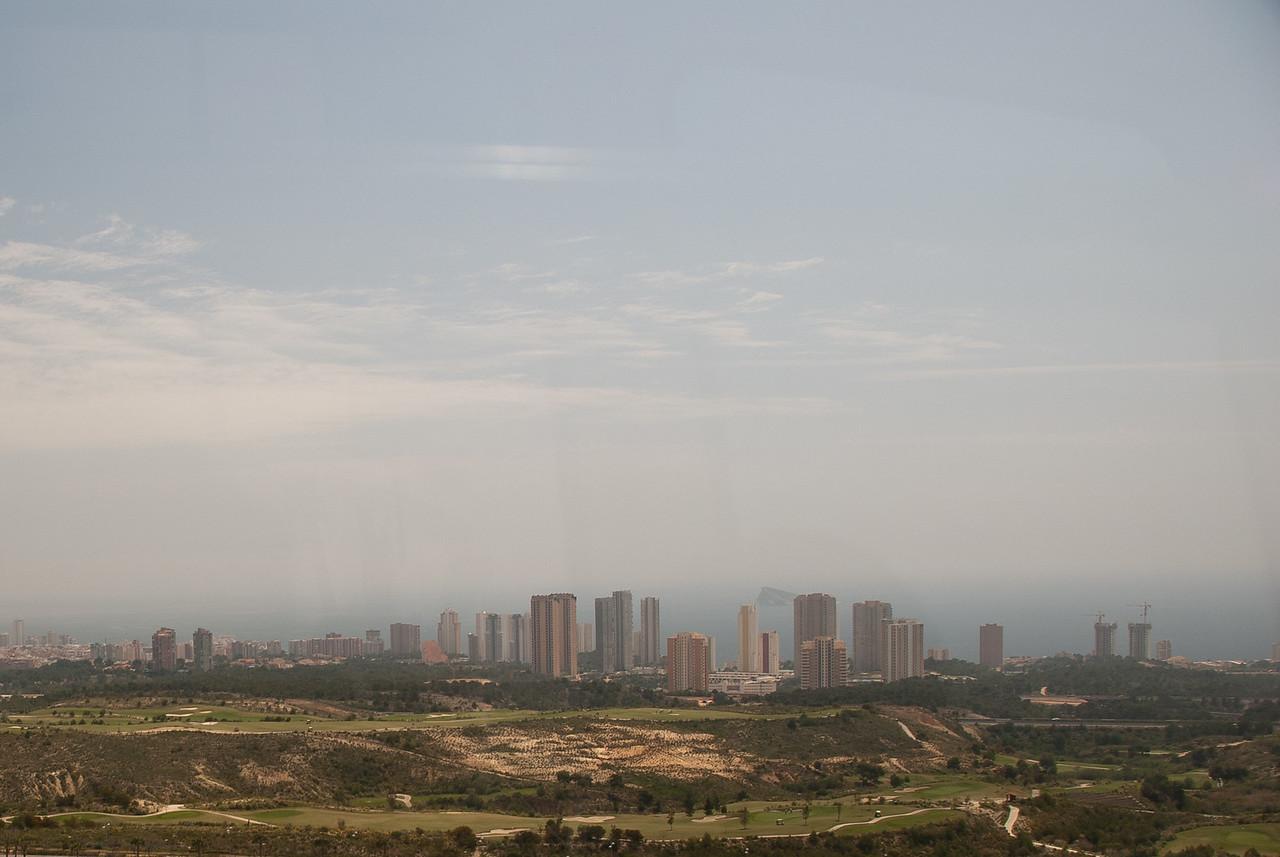 Wide shot of skyline in Benidorm, Spain