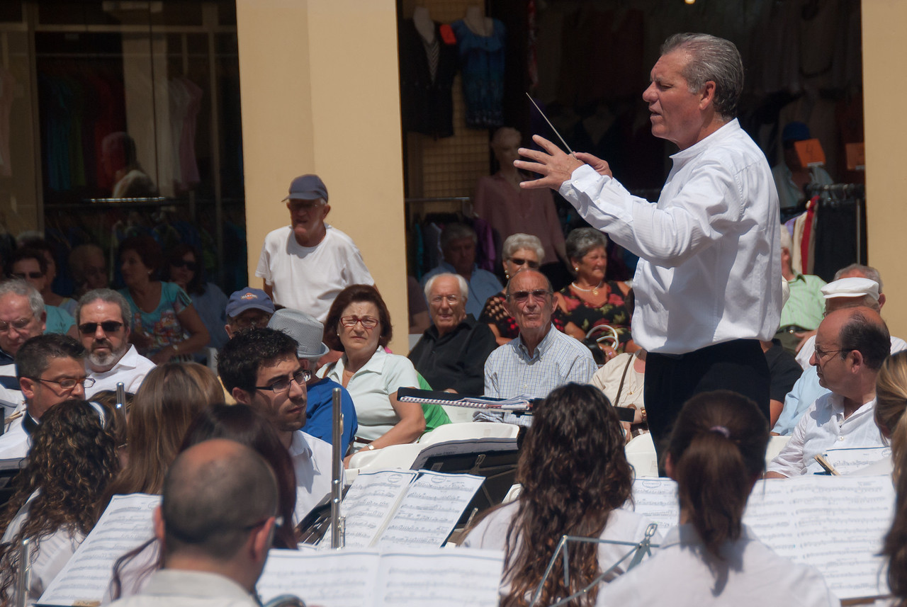 Musical maestro and band in Benidorm, Spain