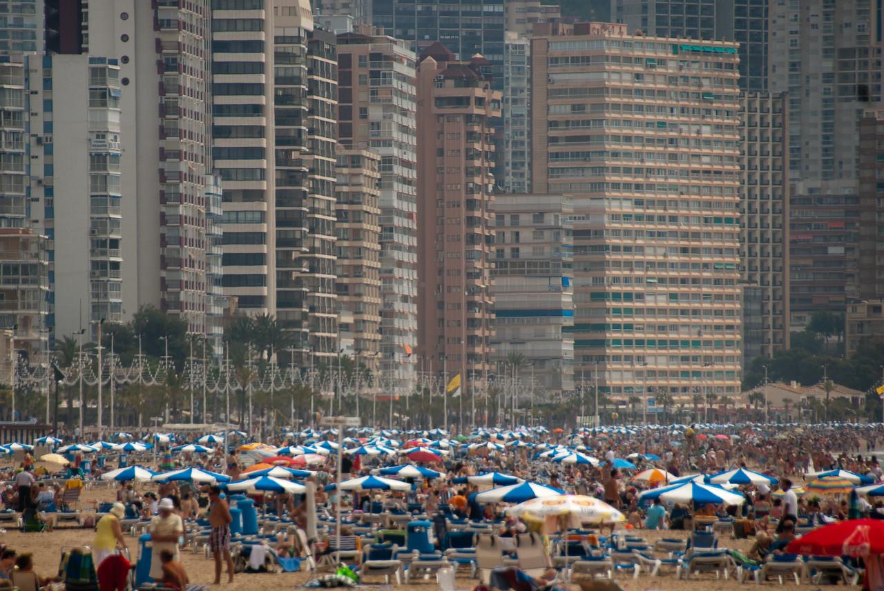 Crowded beach in Benidorm, Spain