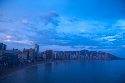The city skyline at dusk in Benidorm, Spain