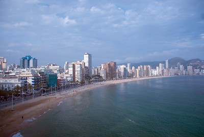 The beautiful coastal view at Benidorm, Spain