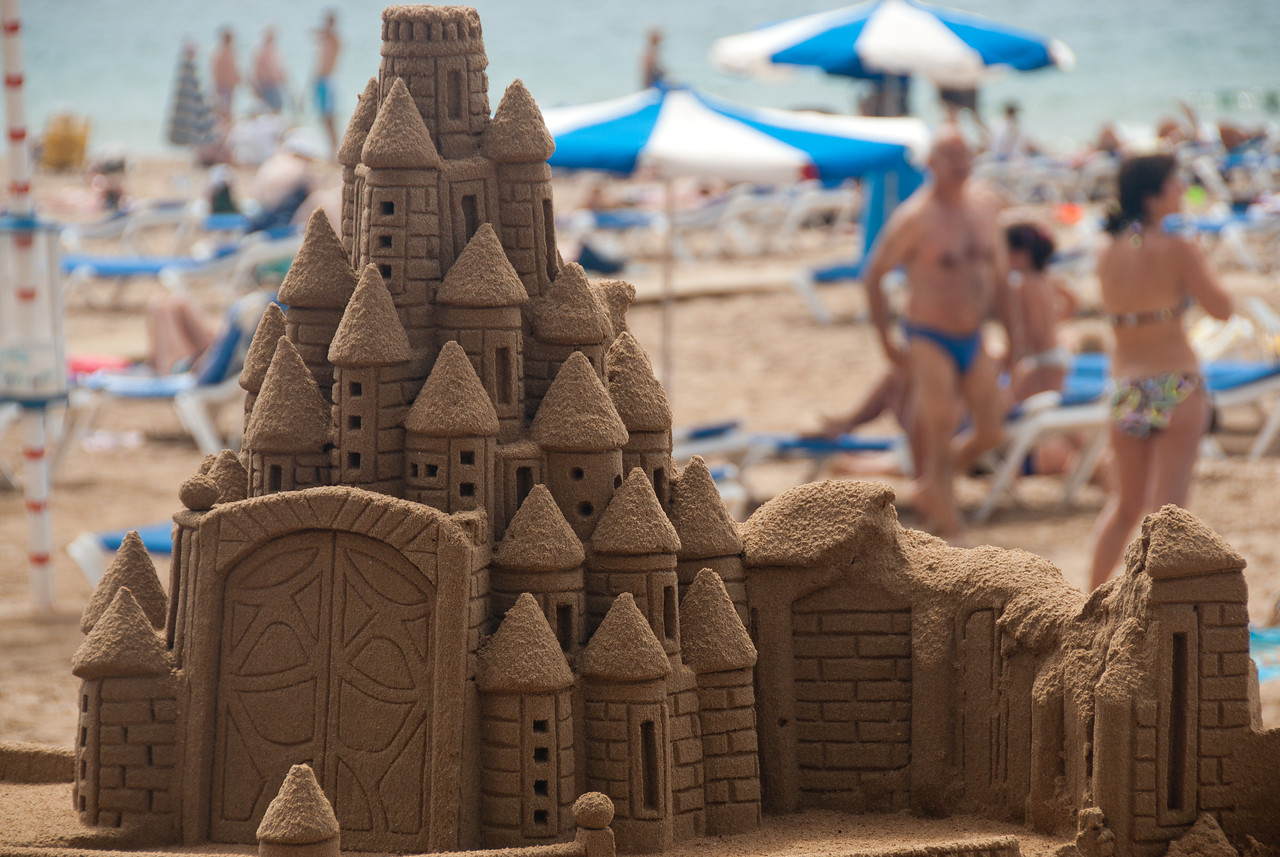 Sand castle formation in Benidorm, Spain