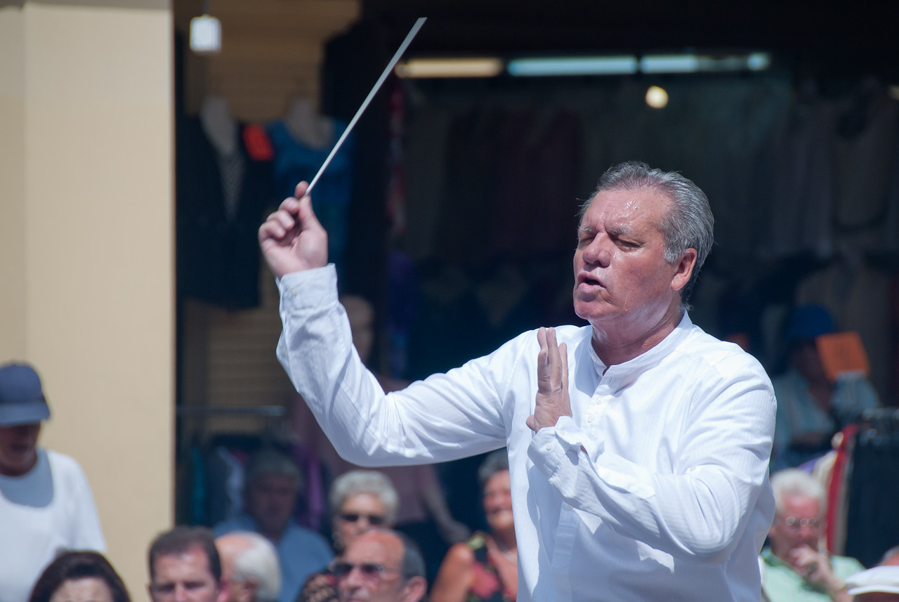 Musical maestro conducting in Benidorm, Spain