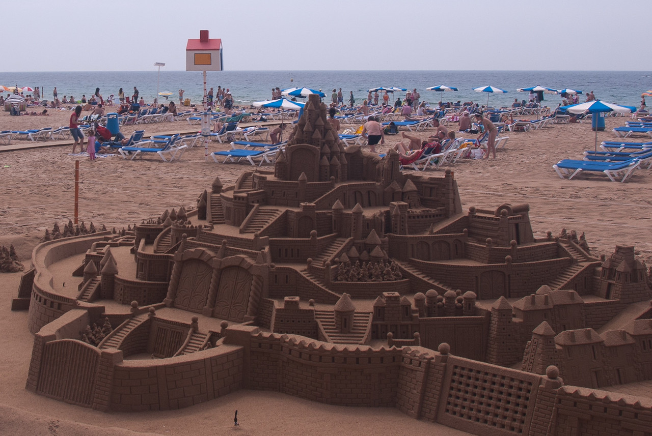 Detailed sandcastle in Playa de Levante - Benidorm, Spain