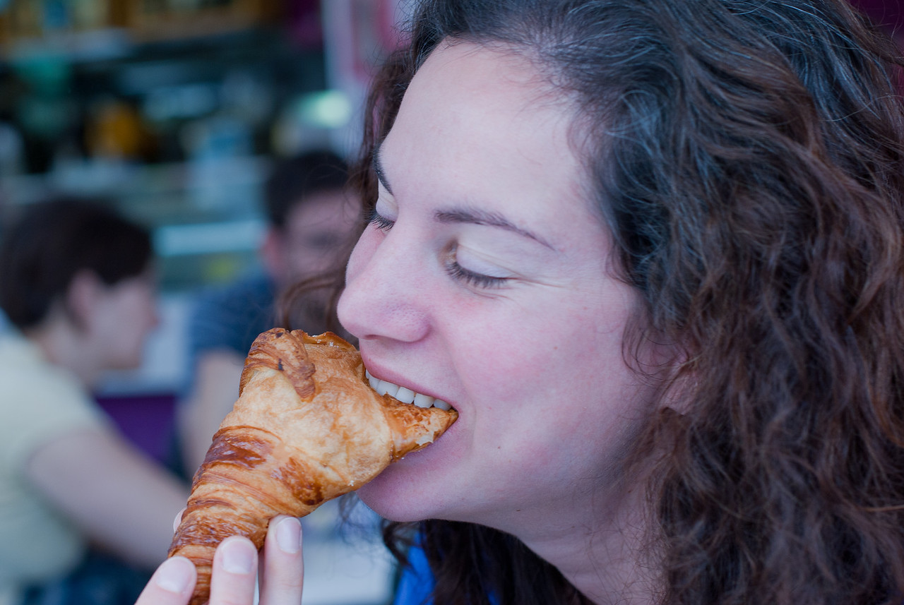 Eating croissant in Benidorm, Spain