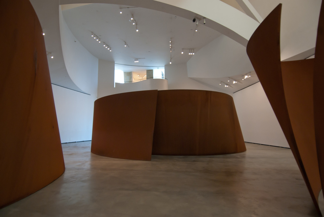 Modern art exhibit in Guggenheim Museum in Bilbao, Spain