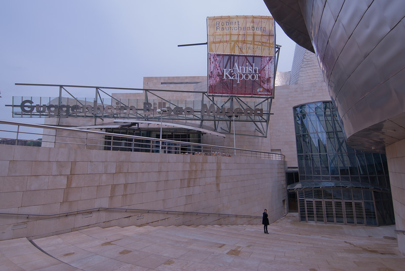 Sign outside Guggenheim Museum in Bilbao, Spain