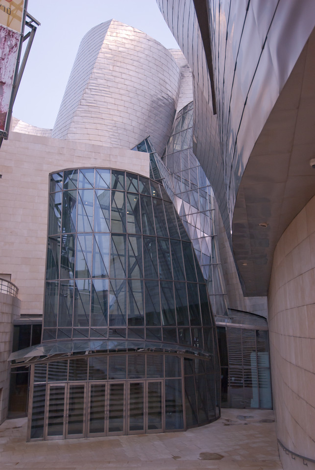 Architectural details of Guggenheim Museum in Bilbao, Spain