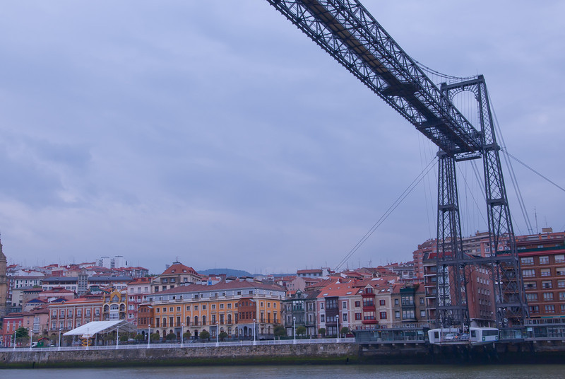 View of the Vizcaya Bridge outside Bilbao