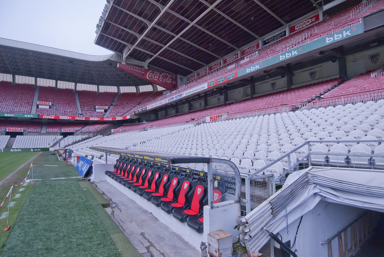Shot of the bleachers at San Mames Stadium in Bilbao, Spain
