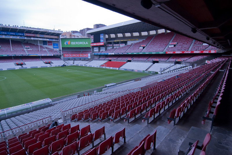 Empty bleachers at San Mames Stadium in Bilbao, Spain